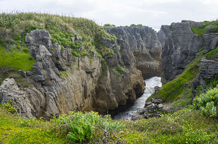 A cool view of the Pancake Rocks, Punakaiki, New Zealand