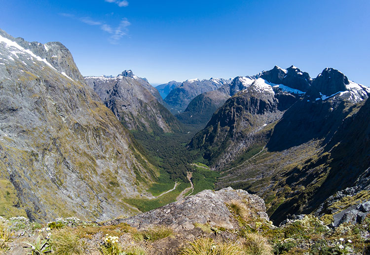Amazing view of mountains and Milford Sound from the Gertrude Saddle Track, New Zealand