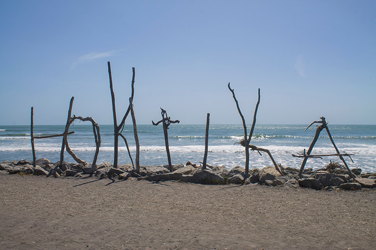 The Hokitika driftwood sign, New Zealand