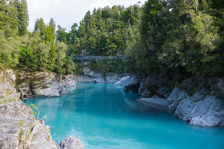 Hokitika Gorge riverside area, New Zealand