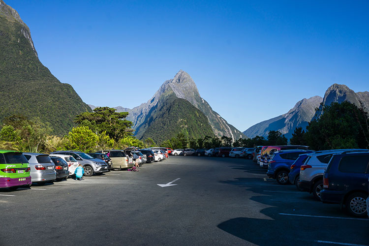 The Milford Sound car park -- one of the most scenic in New Zealand!