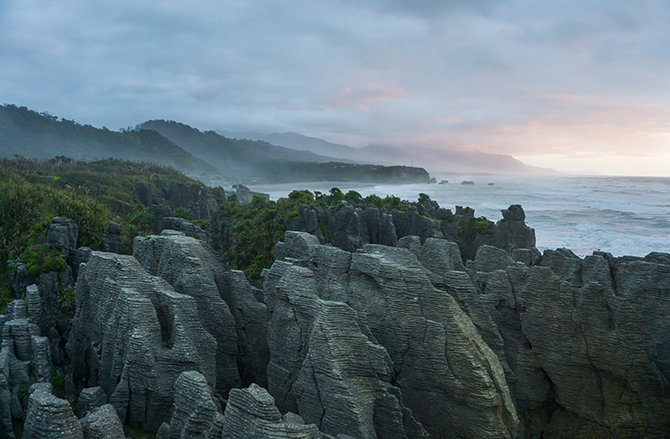 Sunset at the Pancake Rocks, West Coast, New Zealand