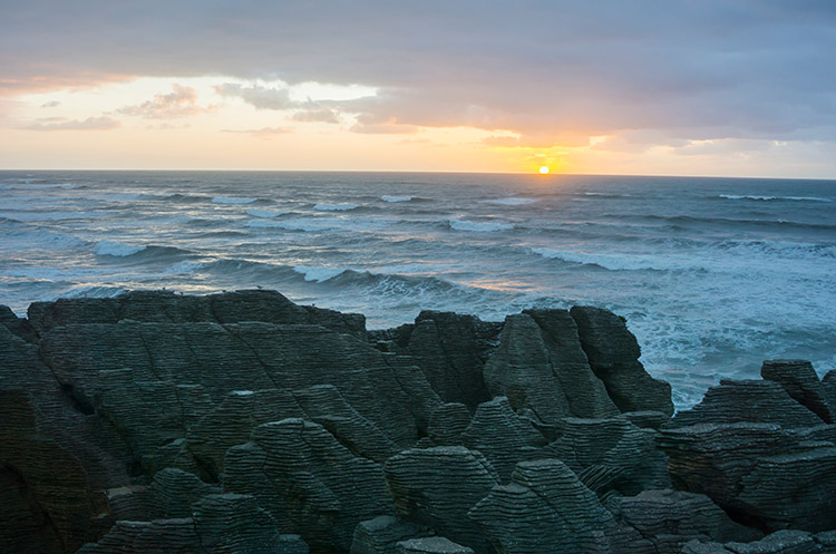 Sunset over the Pancake Rocks, Punakaiki, New Zealand