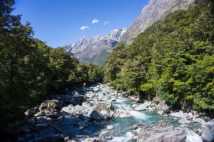 The Tutoko Valley from the bridge, Fiordland, New Zealand