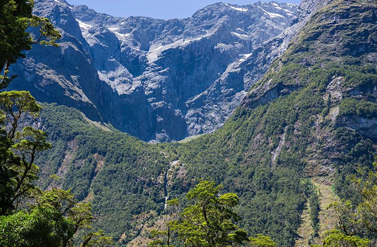 A glimpse of scenery on the Tutoko Valley Track, Fiordland National Park, New Zealand