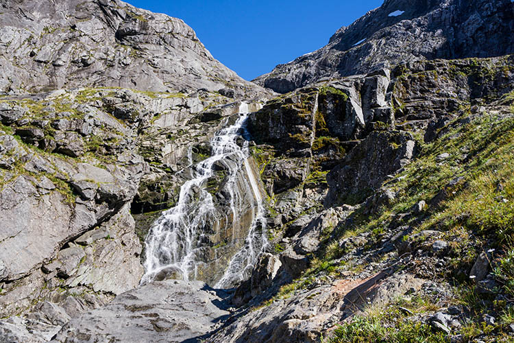 A waterfall on the Gertrude Saddle Track, New Zealand