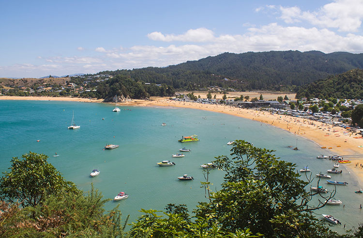 View of Kaiteriteri Beach from the Kaka Point Lookout, New Zealand