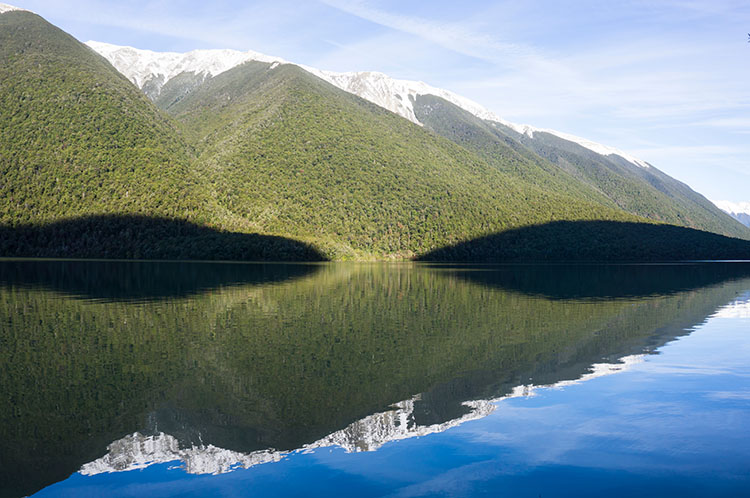 Stunning view of Lake Rotoiti near Whiskey Falls, Nelson Lakes National Park
