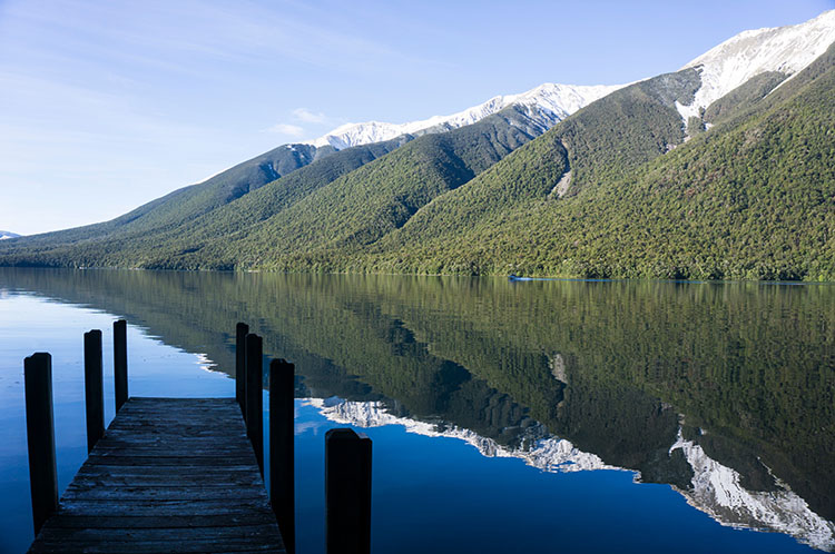 A pier near Whiskey Falls, Nelson Lakes National Park, New Zealand