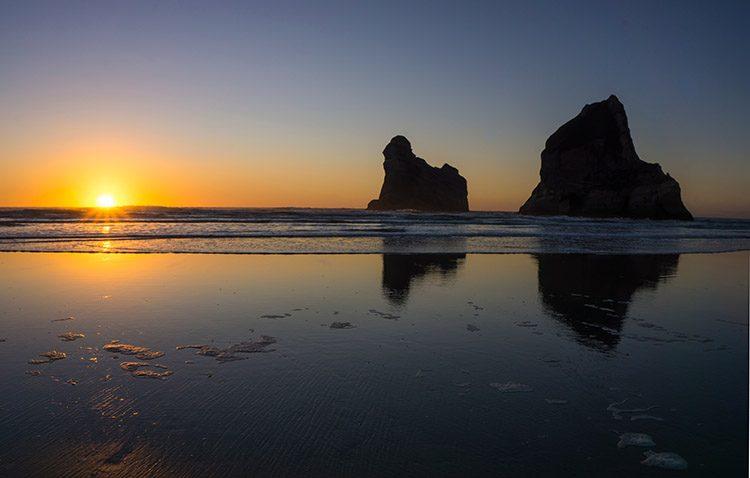 Wharariki Beach sunset, Golden Bay, New Zealand