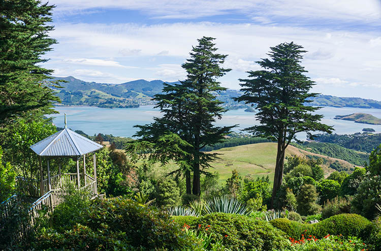 A view from the gardens at Larnach Castle, Dunedin, New Zealand