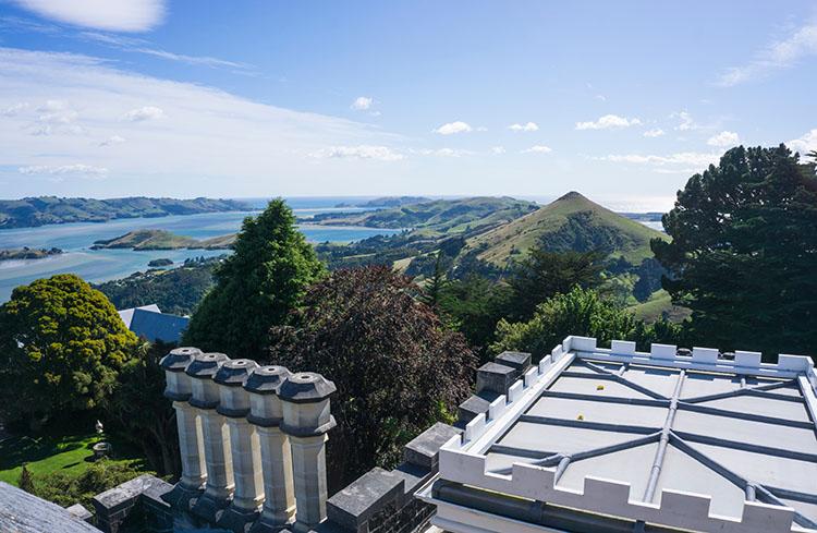 Beautiful view from Larnach Castle, Dunedin, New Zealand