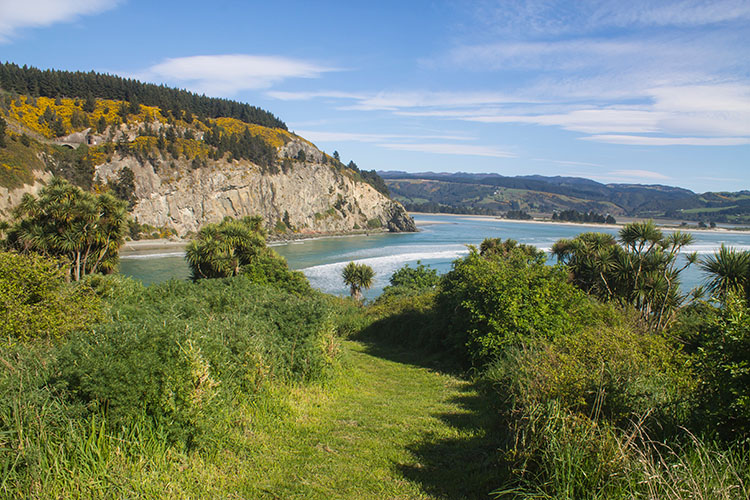 View of Canoe Beach and Doctors Point from Mapoutahi Pa, Dunedin, New Zealand