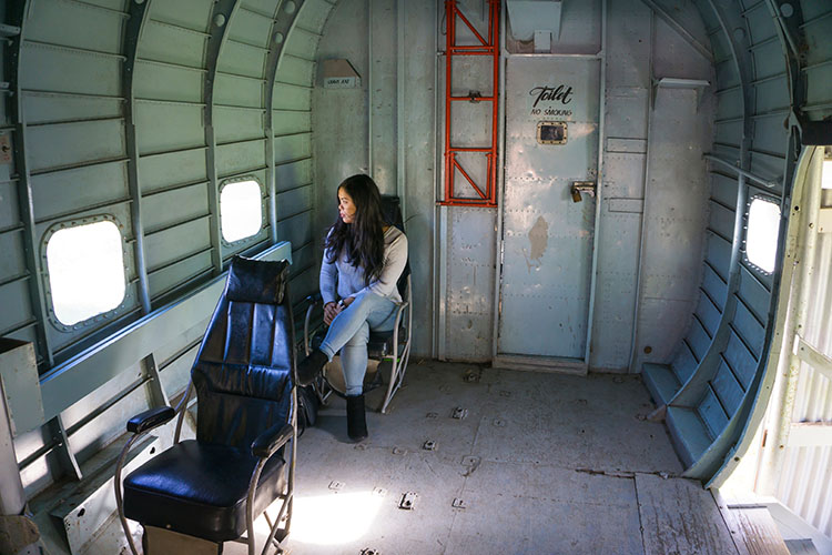 Hanging out in an old plane, Nelson, New Zealand