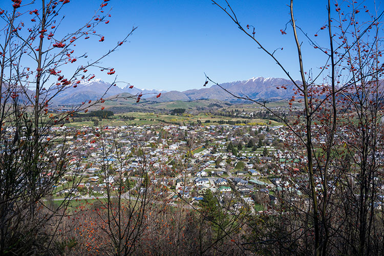 View above Arrowtown, New Zealand