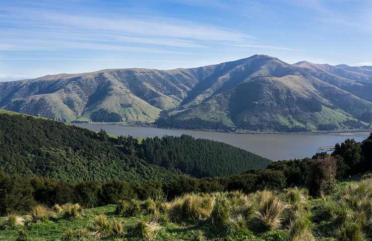 A view of Banks Peninsula, New Zealand