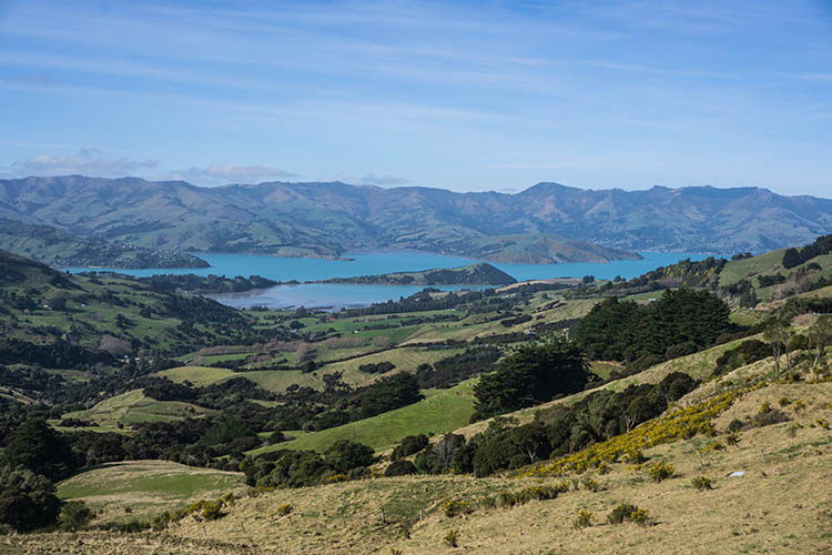 Nice view of Banks Peninsula from above, New Zealand