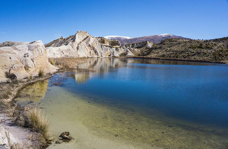 Clear water at Blue Lake, St Bathans, New Zealand