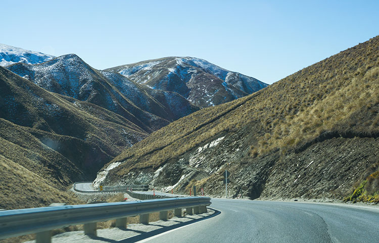 Driving the Crown Range, New Zealand