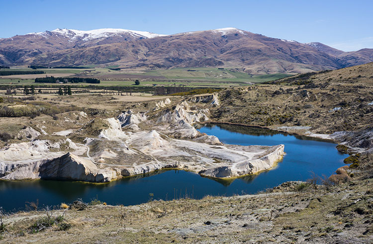 Hiking the Blue Lake Track in St Bathans, Central Otago, New Zealand