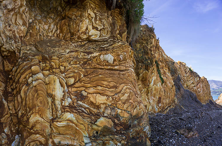 Cool rocks at Onawe Pa, Banks Peninsula, New Zealand