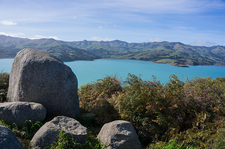 Stunning view towards Akaroa from the Onawe Pa Track, New Zealand