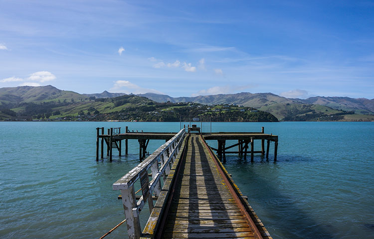 A pier in Duvachelle, Banks Peninsula, New Zealand
