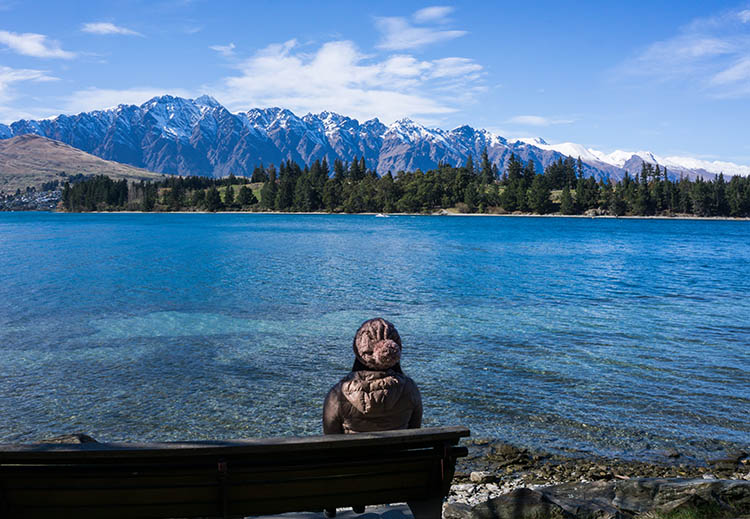 A view of the Remarkables from Queenstown Gardens, New Zealand