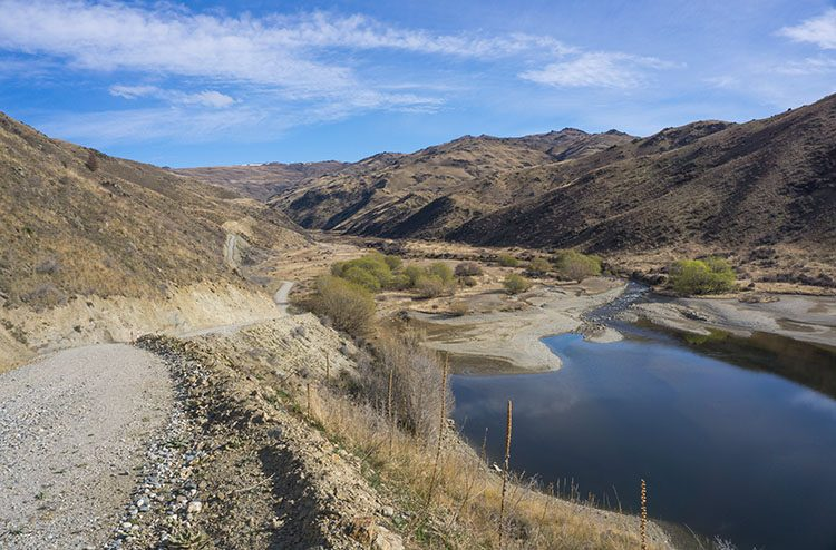 Driving to Fraser Dam, Central Otago, New Zealand