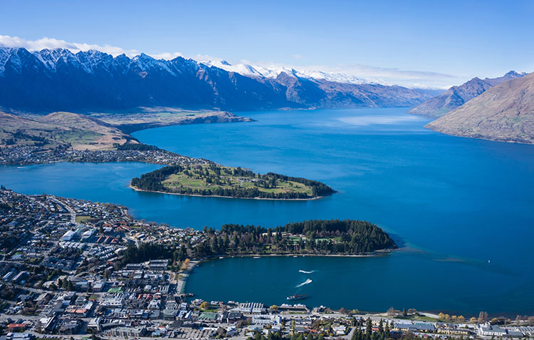 Queenstown, New Zealand from above