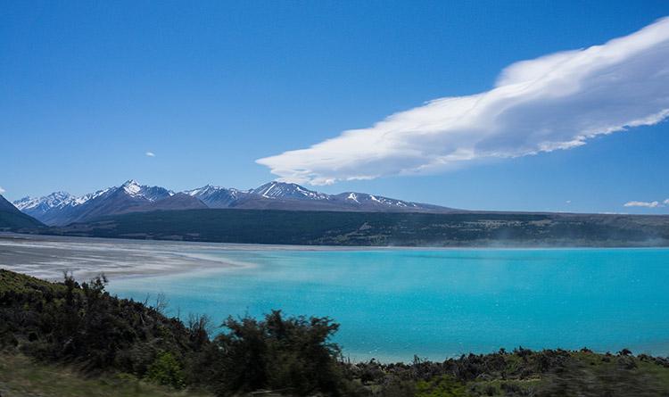 Lake Pukaki surrounded by snow-capped mountains, New Zealand