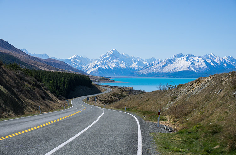 A scenic stretch of road towards Mount Cook, New Zealand