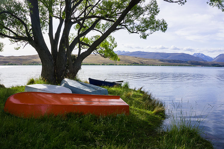 Boats at Lake Alexandrina, New Zealand