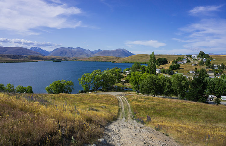 View above Lake Alexandrina Village, New Zealand