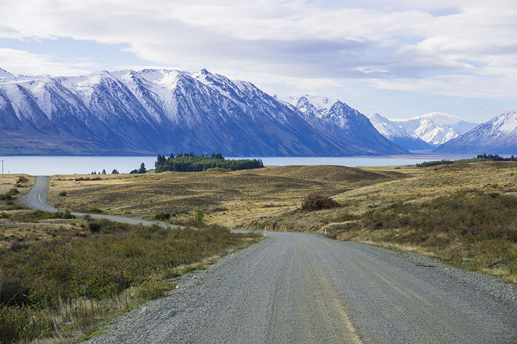 A scenic drive near Lake Tekapo, NZ