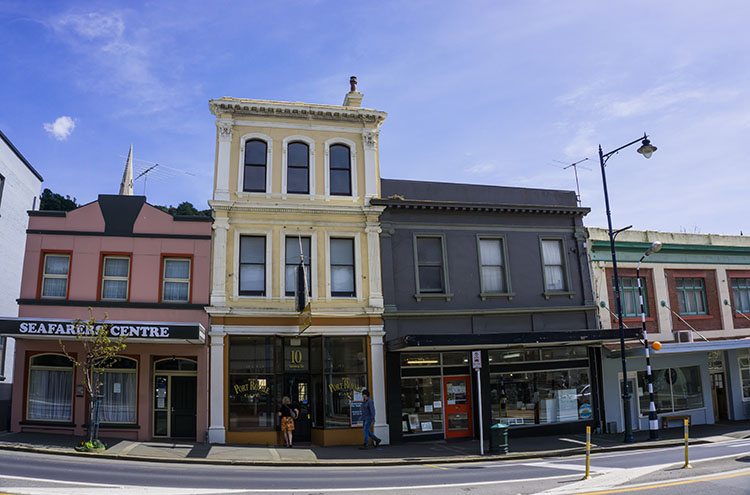 The main street in Port Chalmers, Dunedin, New Zealand