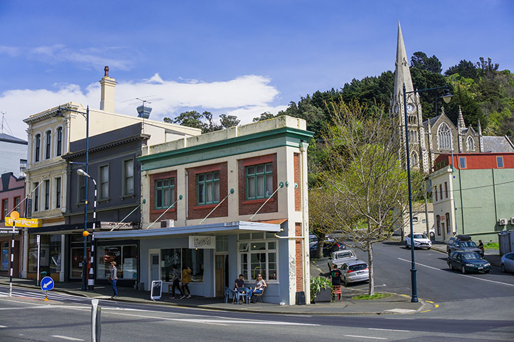 Old buildings in Port Chalmers, Dunedin, New Zealand