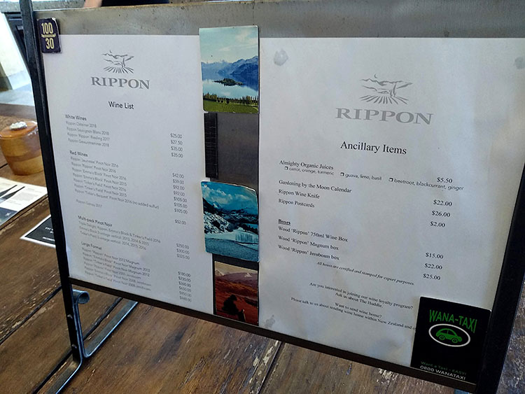 Rippon wine list, Wanaka, New Zealand