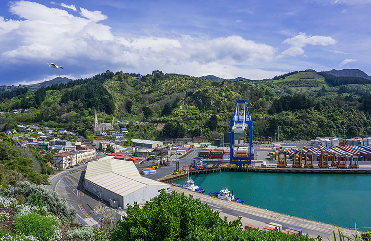 Looking over the port in Port Chalmers, Dunedin, New Zealand