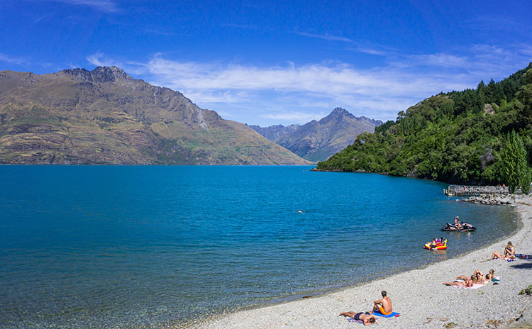 Things to do in Queenstown, New Zealand -- visit a beach!