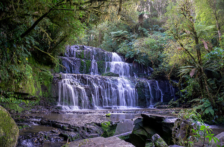 The beautiful Purakaunui Falls, New Zealand