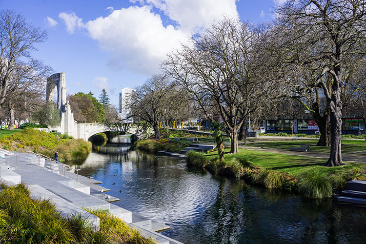 Walking by the Avon River, Christchurch, New Zealand