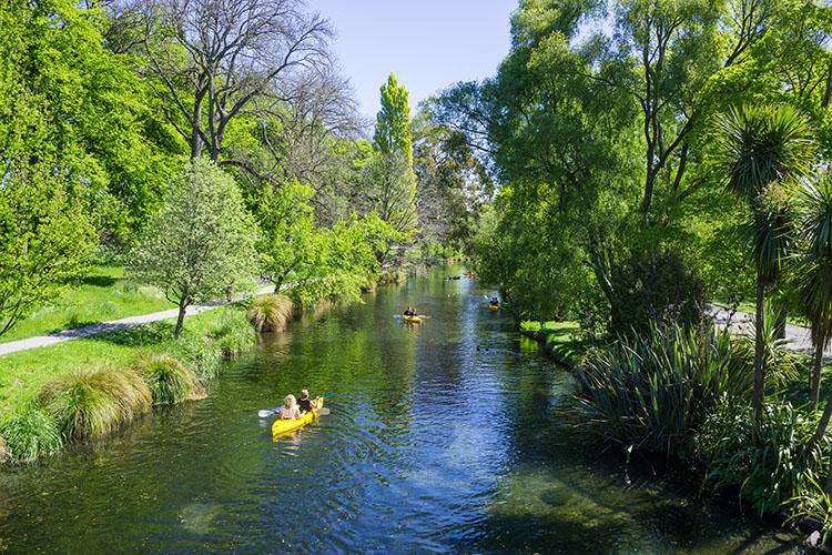 Kayaking down the Avon River, Christchurch, New Zealand