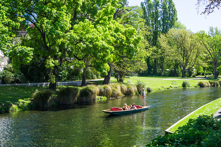 Punting down the Avon River, Christchurch, New Zealand