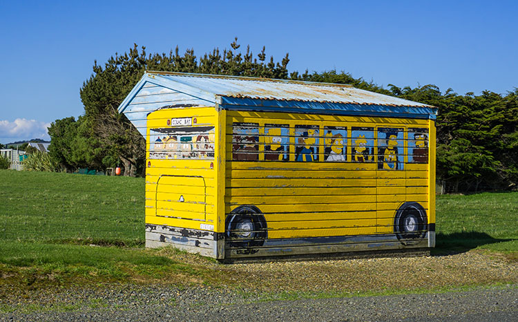 Bus stop at Colac Bay, New Zealand