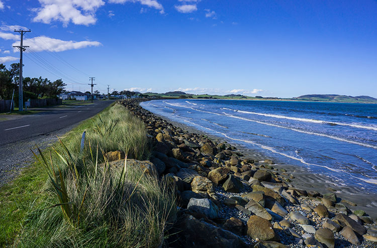 Colac Bay main road, Southland, New Zealand