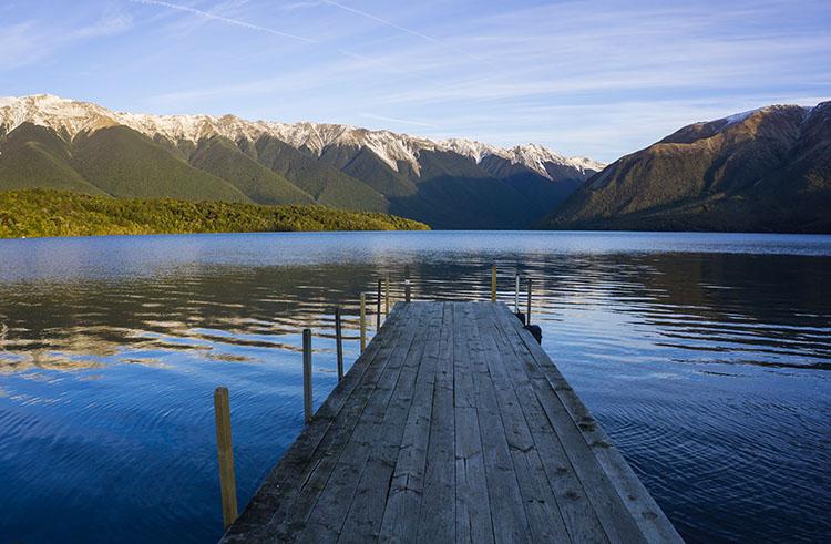 A pier at Lake Rotoiti, Nelson Lakes National Park, New Zealand