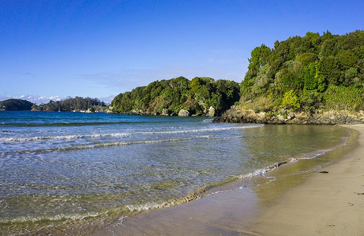 Bathing Beach clear water, New Zealand