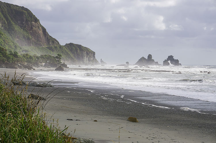 A beach near Punakaiki, New Zealand